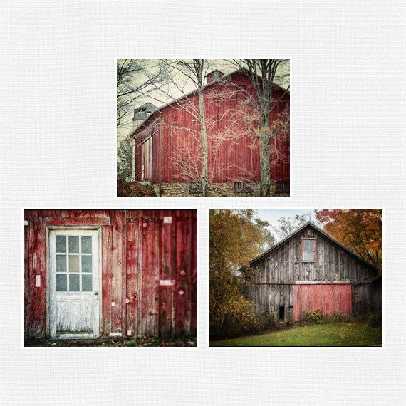 Red Farmhouse Wall Art Decor Set Of 3 Red Barn Landscape Etsy Farmhouse Wall Art Red Barn Photography Barn Prints