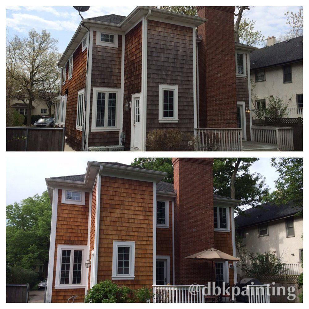 Best Exterior Cedar Shake Siding Before And After Using Benjamin Moore Arborcoat Translucent Cedar 640 x 480