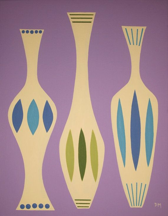 Mid Century Modern 11 X 14 Original Acrylic Vases by donnamibushttp://decdesignecasa.blogspot.it/