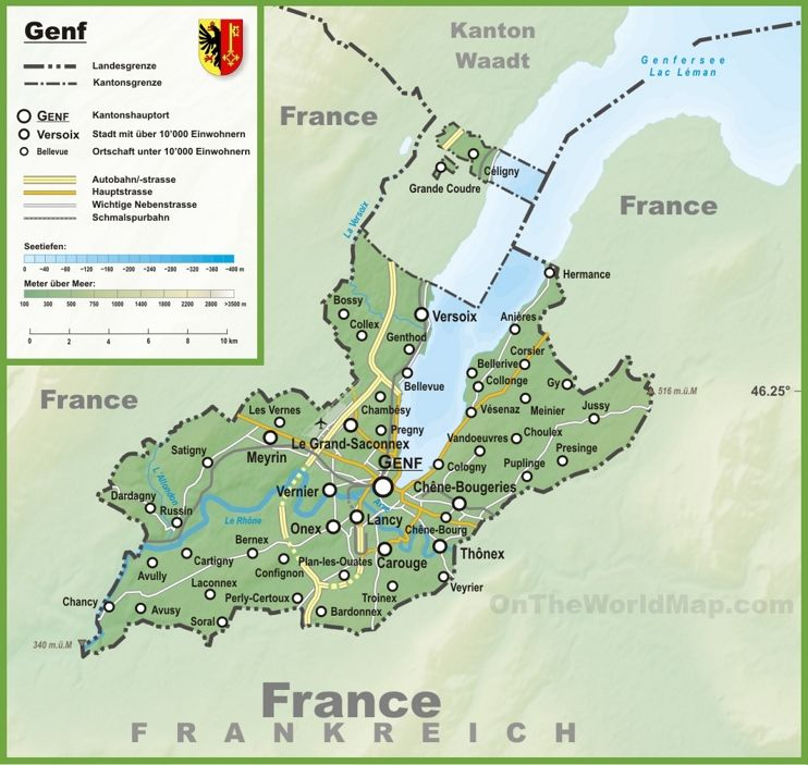 Canton of Geneva map with cities and towns Maps Pinterest