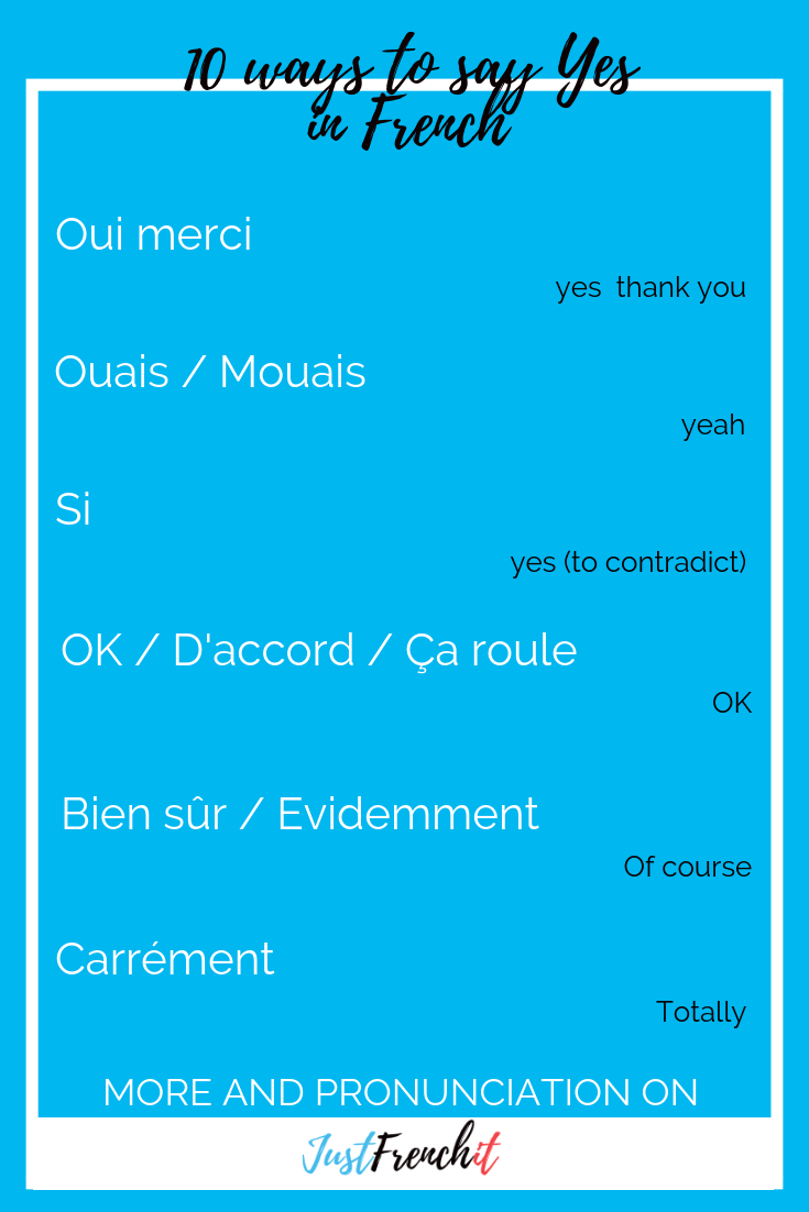 Yes In French 10 Ways To Say Oui In French Just French It Learn French Basic French Words Learn French Beginner