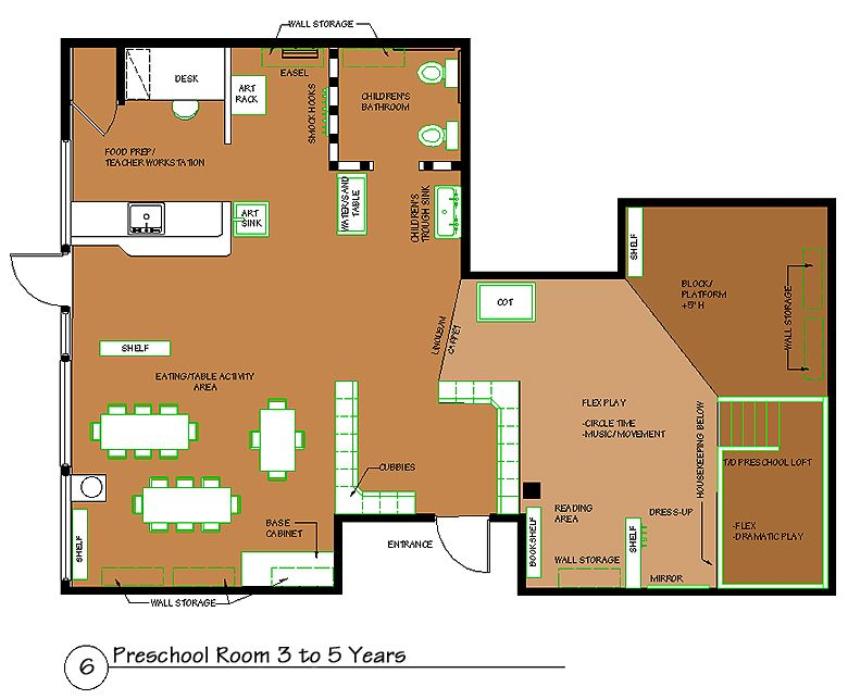 Preschool room 3 to 5 years kids spaces pinterest for Preschool classroom floor plan