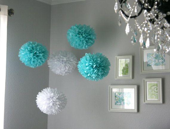 Tiffany .. Tissue Paper Poms.. Wedding Decoration / Bridal Shower / Party Decoration / DIY - set of 10. $35.00, via Etsy.