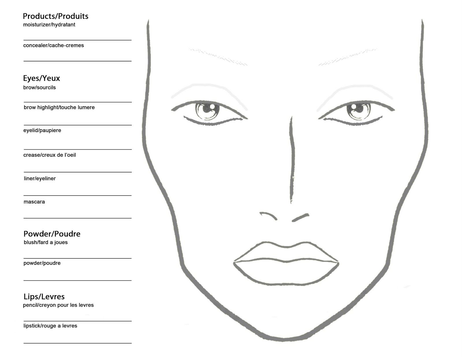 Free Blank Mac Makeup Chart With