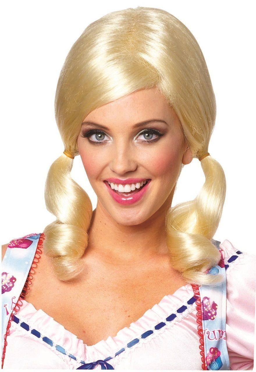 Farmers Daughter Blonde Brown Pigtails Wig Hair Bo Peep