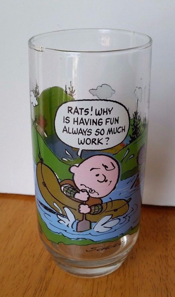3ba0107682 Camp Snoopy Glass Rats Why is having fun always so much work McDonalds  Vintage