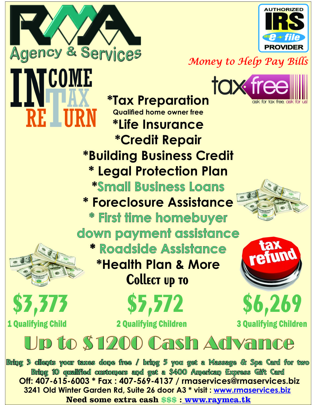 Tax services, Credit Repair, Legal Protection Plan, Life