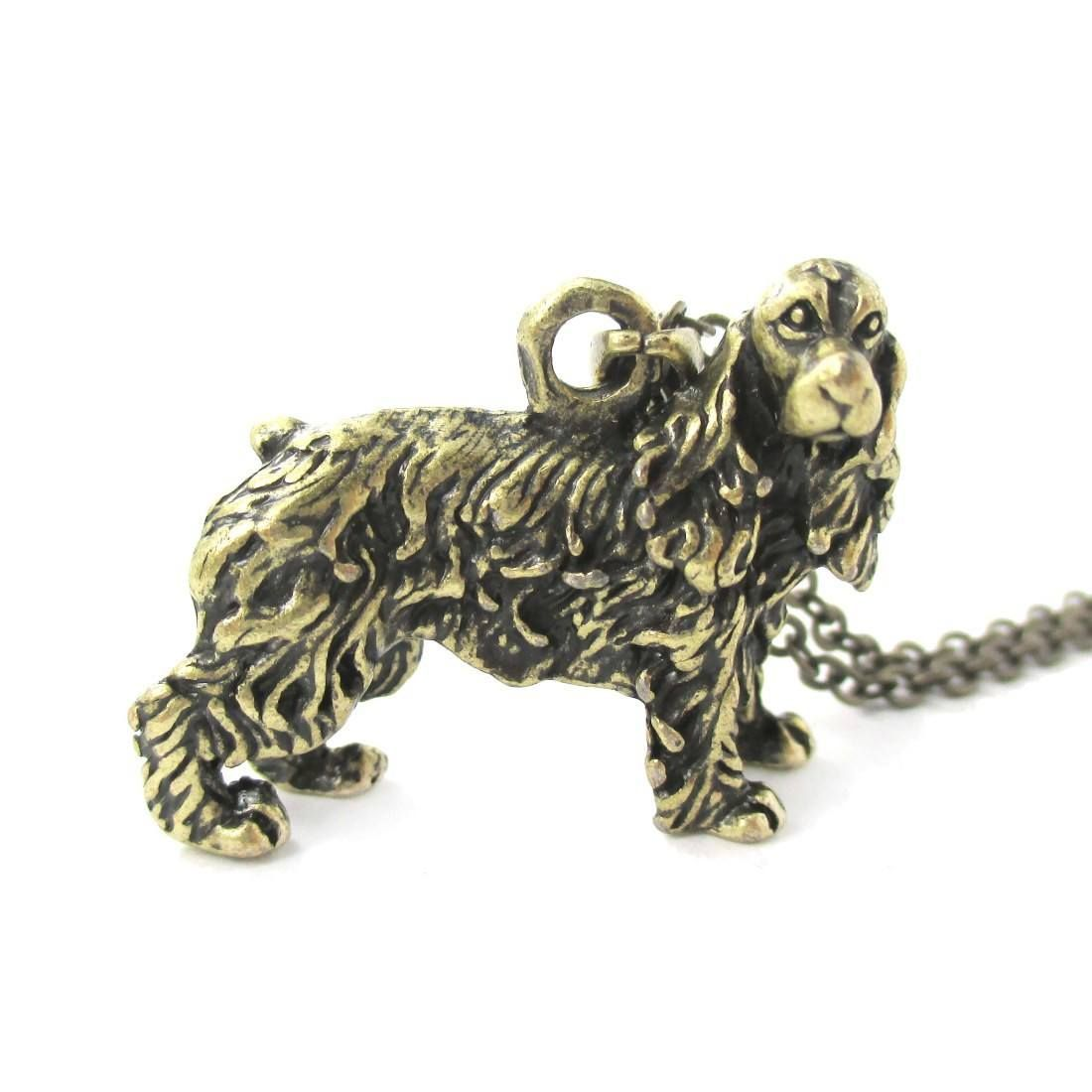 Realistic English Cocker Spaniel Shaped Animal Pendant Necklace in Brass | Jewelry for Dog Lovers