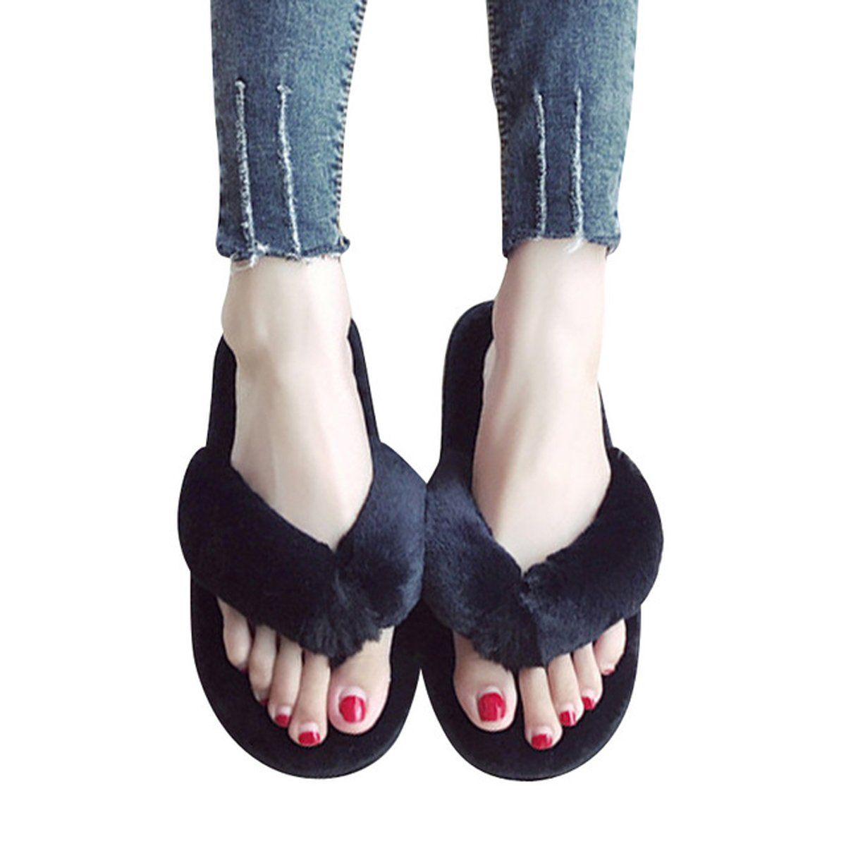 797809a551747 Amazon.com | Stunner Women's Faux Fur Thong Slippers Leisure Soft ...
