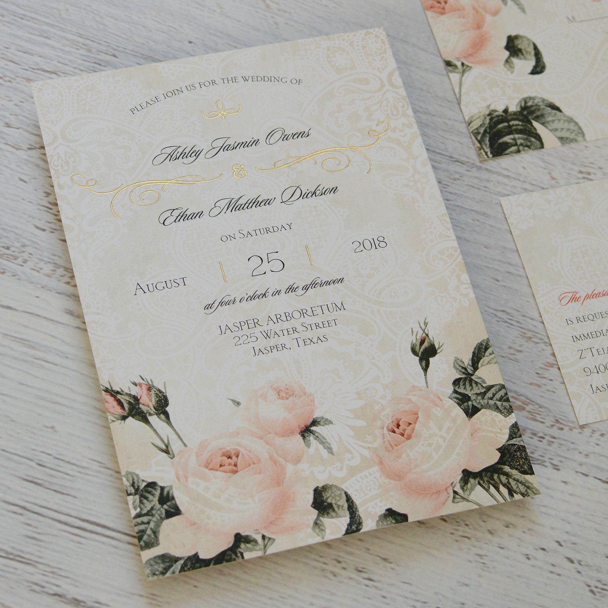 Vintage Garden Foil Invitation Floral wedding Wedding and Wedding