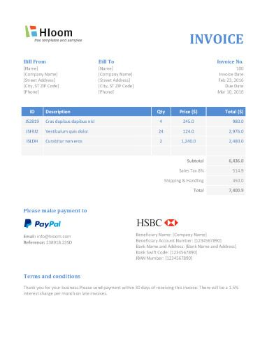 Banker Blues Word Invoice Template Invoice Templates Pinterest - microsoft word template invoice