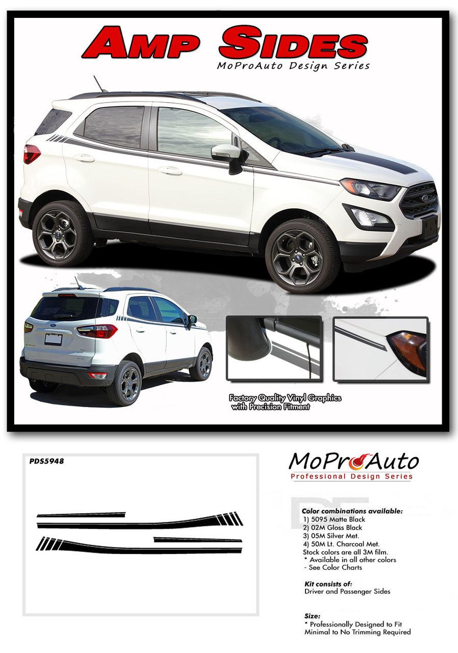 AMP SIDES : Ford EcoSport Side Decal Door Stripe Vinyl Graphic Kit