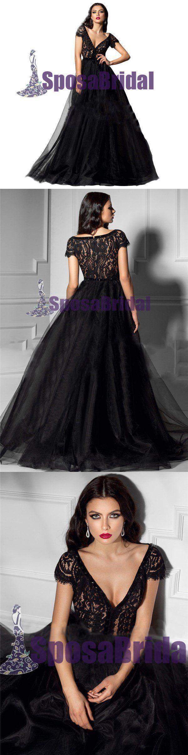 Black lace tulle cap sleeves formal elegant vneck prom dresses