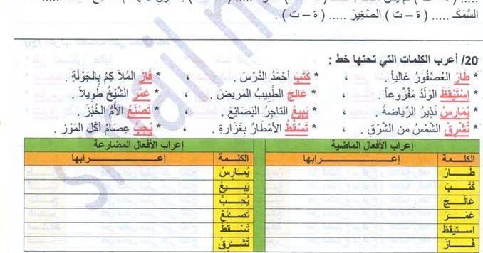 تمارين مع الحل للاسبوع الرابع في اللغة العربية للسنة الرابعة ابتدائي الجيل الثاني Education Solutions Exercise