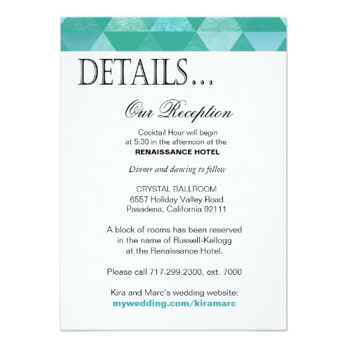 Wedding Invitations Details: Simple Wedding Reception Geometric Triangles Reception