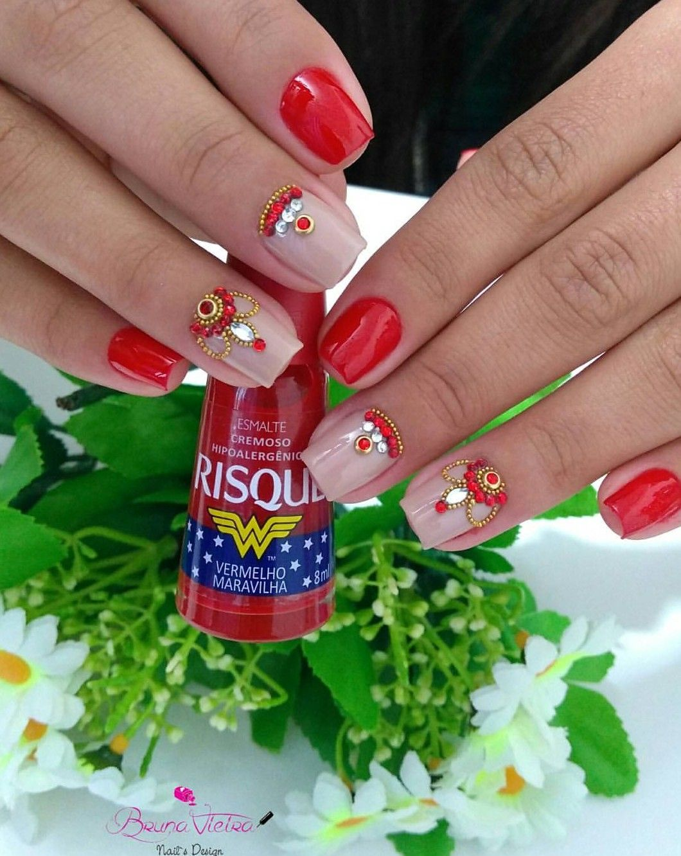 risque Vermelho maravilha | Nail art | Esmaltes | Pinterest | Esmalte