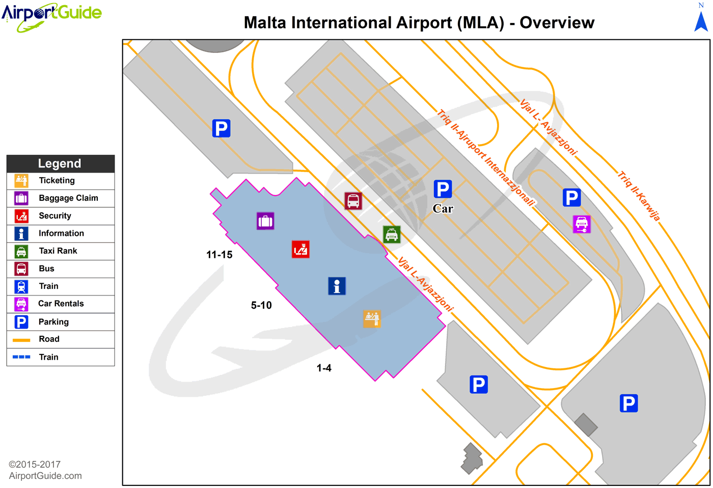 Luqa Malta International Mla Airport Terminal Map Overview Airport Guide Airport Map