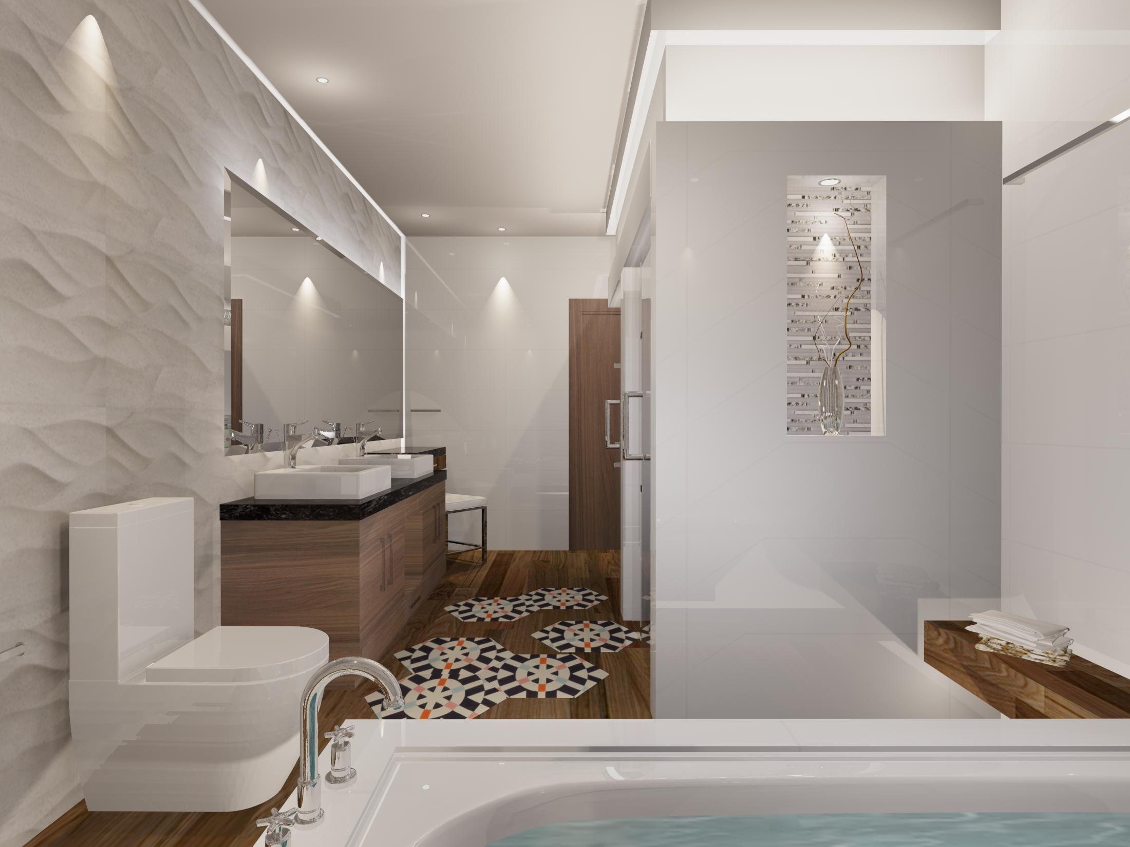 Cuarto De Bano De Estilo Contemporaneo Materiales Utilizados Muro Porcelanato Ona Natural 33 3x100 De Porcelanosa Malla Decorativa Home Bathroom Bathtub