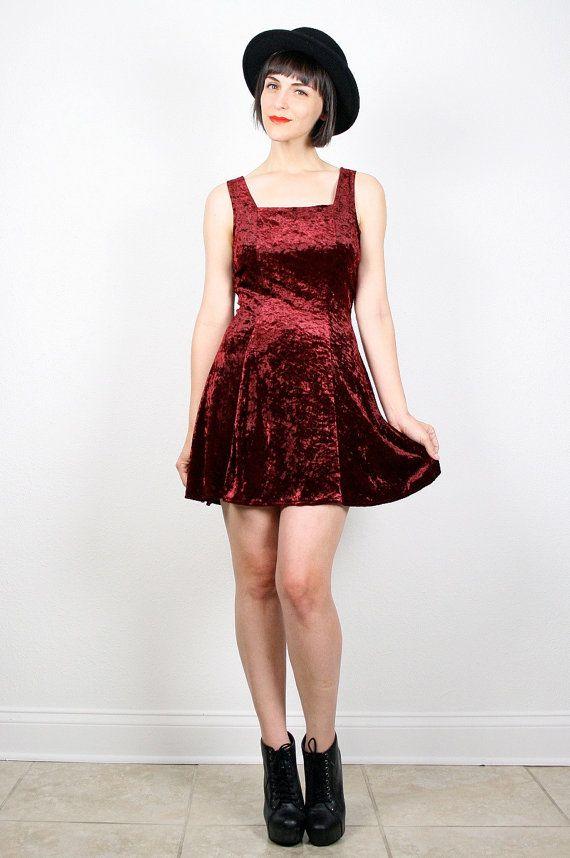 261737bbb Vintage Crushed Velvet Dress Skater Dress Backless Dress Mini Dress 90s  Dress Soft Grunge Dress Club