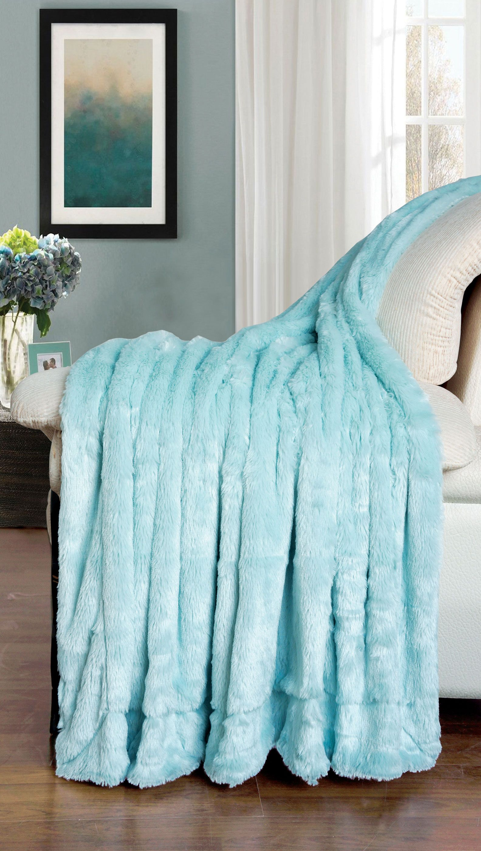 DOUBLE SIDED FAUX FUR OVERSIZED THROWS THROW BLANKET LIGHTBLUE