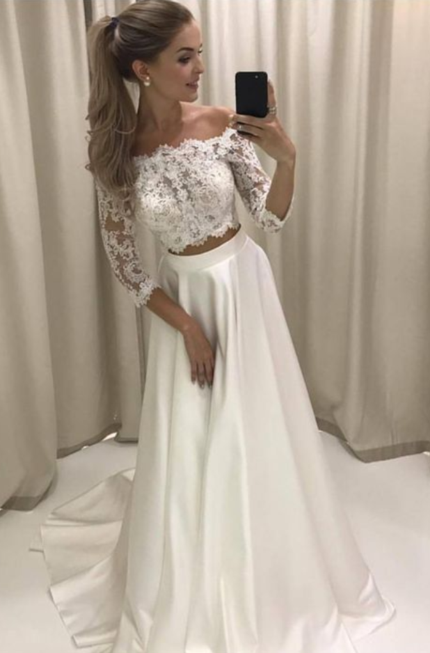 9f691f91ac60 Boho Style Lace Sleeves Two Piece Wedding Dresses Off Shoulder Satin Beach  Bridal Gowns