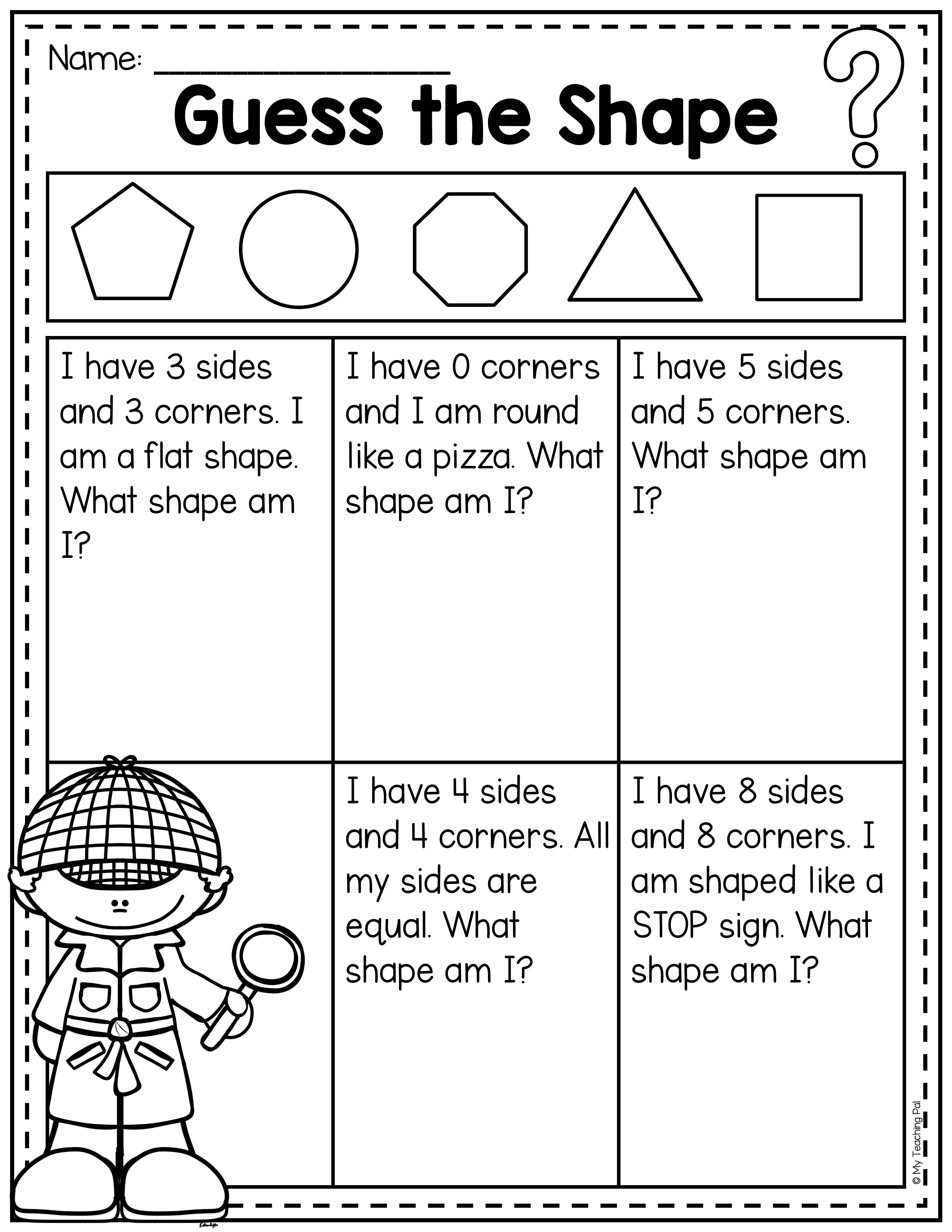 medium resolution of Guess the 2D shapes   Summer math worksheets