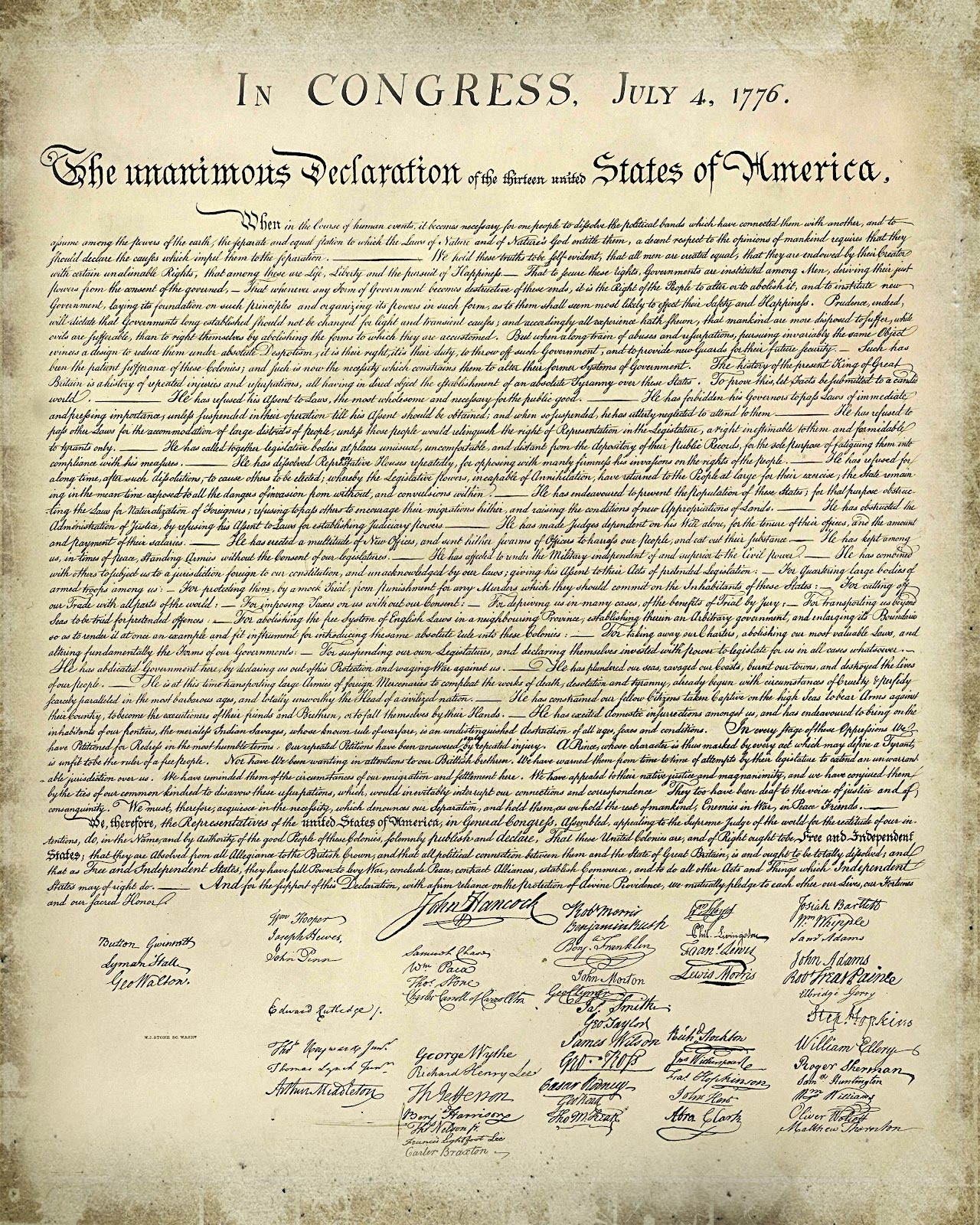 Declaration Of Independence Printable Version