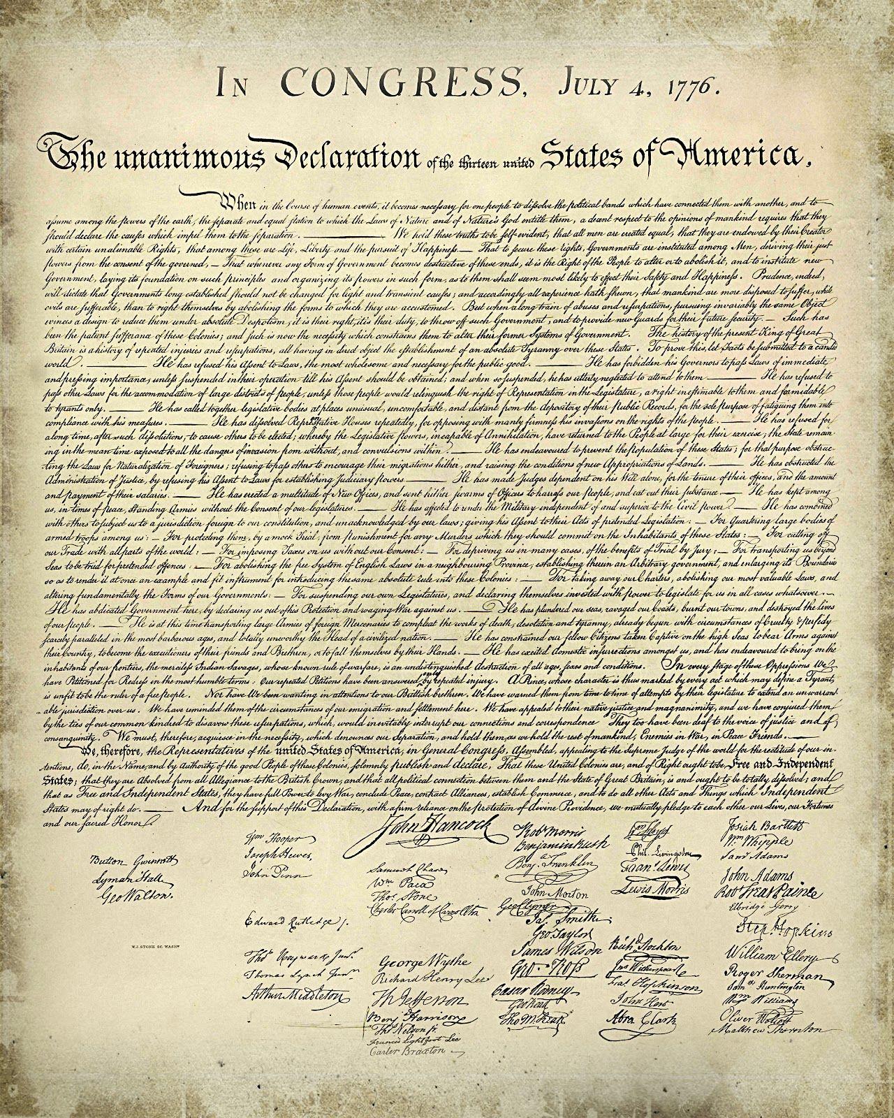 Declaration of Independence Printable Version  Free Printable