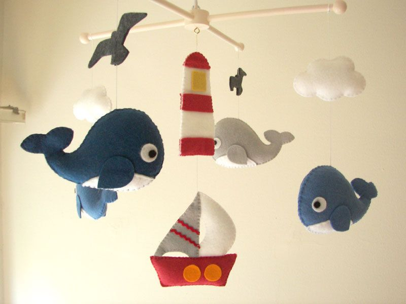 "Baby crib mobile, Whale mobile, Boat mobile, nursery mobile - ""Ocean Freedom"". $95.00, via Etsy."