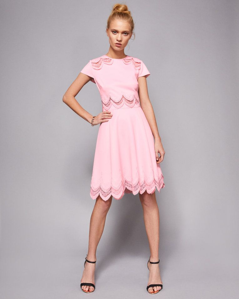 b01fd8dcfde09 Embroidered skater dress - Baby Pink | Dresses | Ted Baker | fashion ...