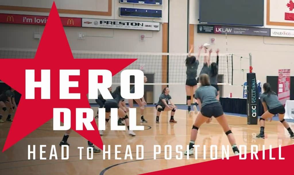 Hero Drill Head To Head Position Drill Coaching Volleyball Volleyball Workouts Volleyball Drills