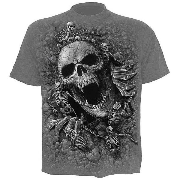 Mens shirt from our graphic clothing collection, printed front and back with the Spiral exclusive Skull Cove design.