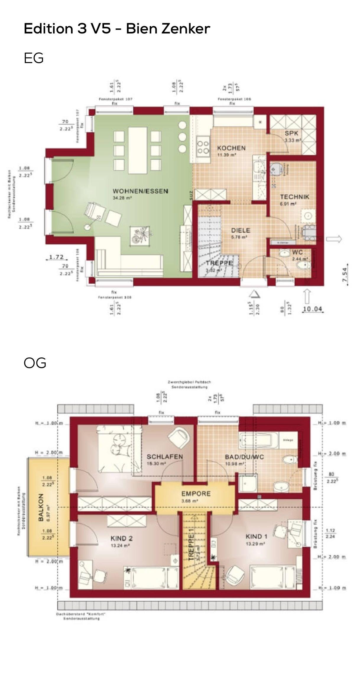 Grundriss Einfamilienhaus länglich mit Satteldach ...