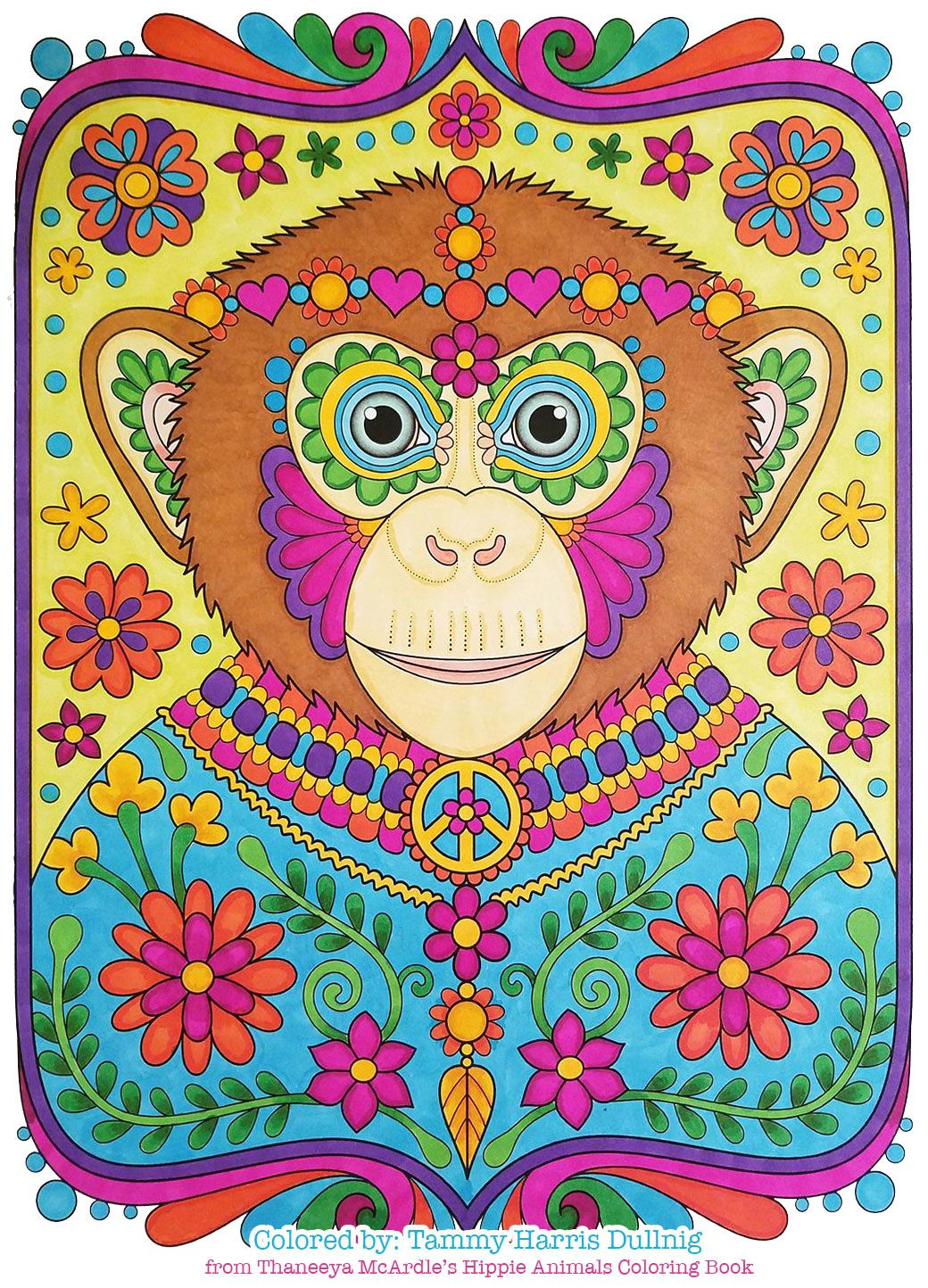 Hippie Chimp Coloring Page From Thaneeya McArdles Hippie Animals Coloring Book Colored By