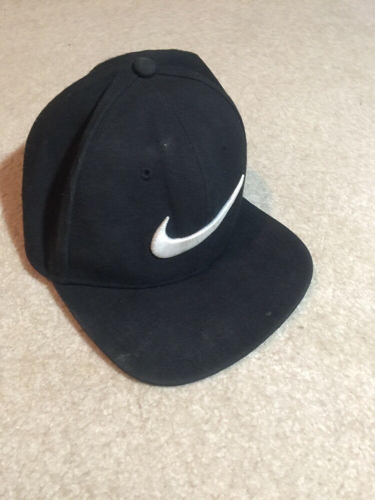 b16accd8a Vintage New Nike Check Swoosh Logo 6 Panel Snapback Hat 90s Black ...