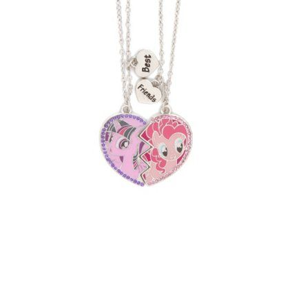 Mylittleponybestfriendshalfheartandcharmspendant my little pony best friends half heart pendant necklaces set 2 hasbro pinkie bff mozeypictures Images