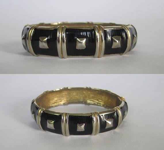 1980s Black & Gold Metal Bracelet  ||  Vintage 80s Bracelet  ||  Black Bangle