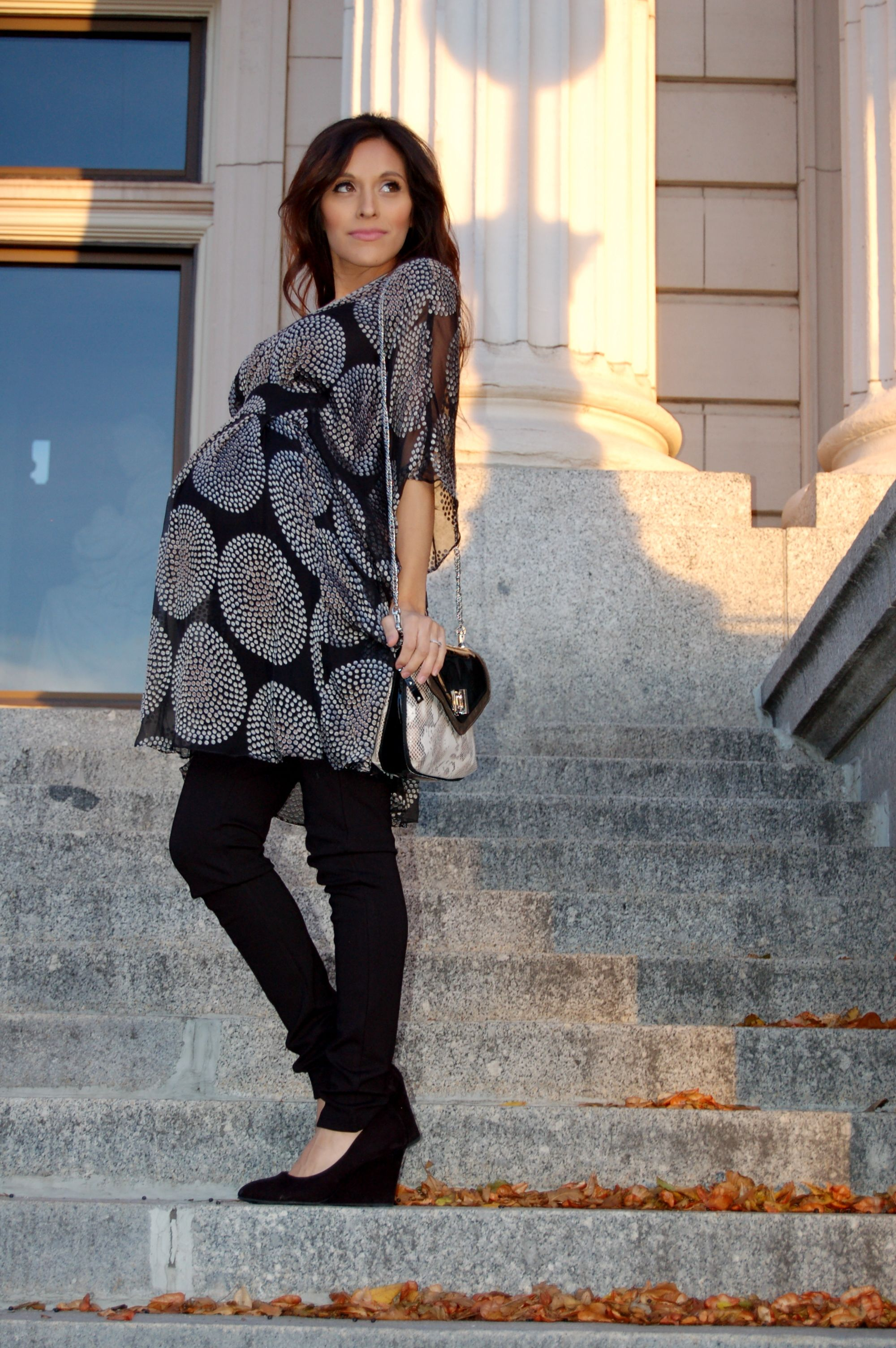 Maternity style: A touch of Luxe by Seraphine Maternity. (Gold and black silk tunic)