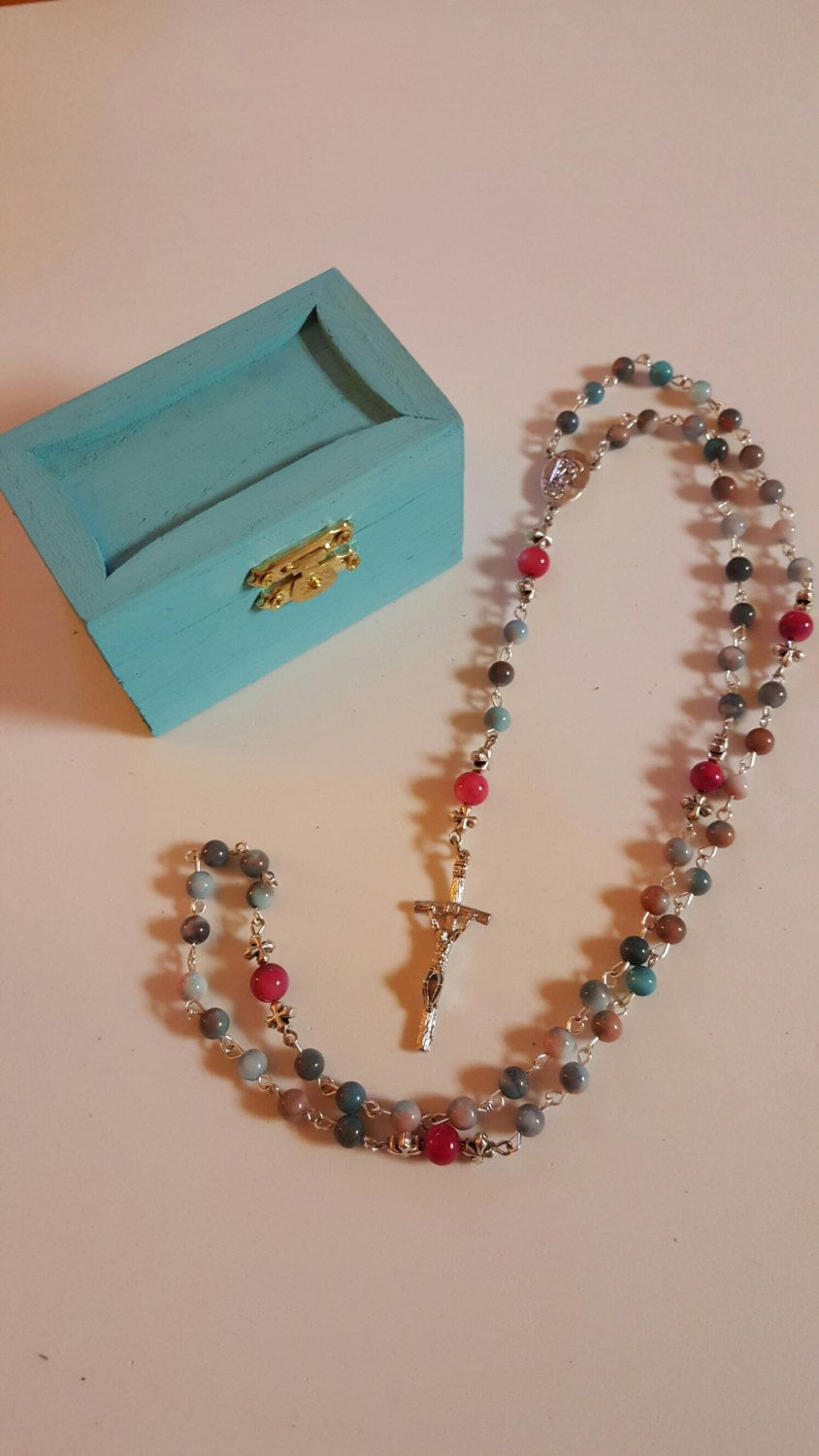 On Sale Now!! Catholic Rosary in multi-color Jasper! Coupon Code LENT2016 for additional savings!! by AutumnsBlessing on Etsy