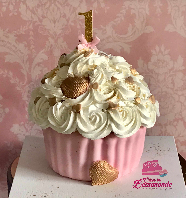 Nieuw Smash cake in roze / wit / goud. Giant cupcake in pink / white TT-35