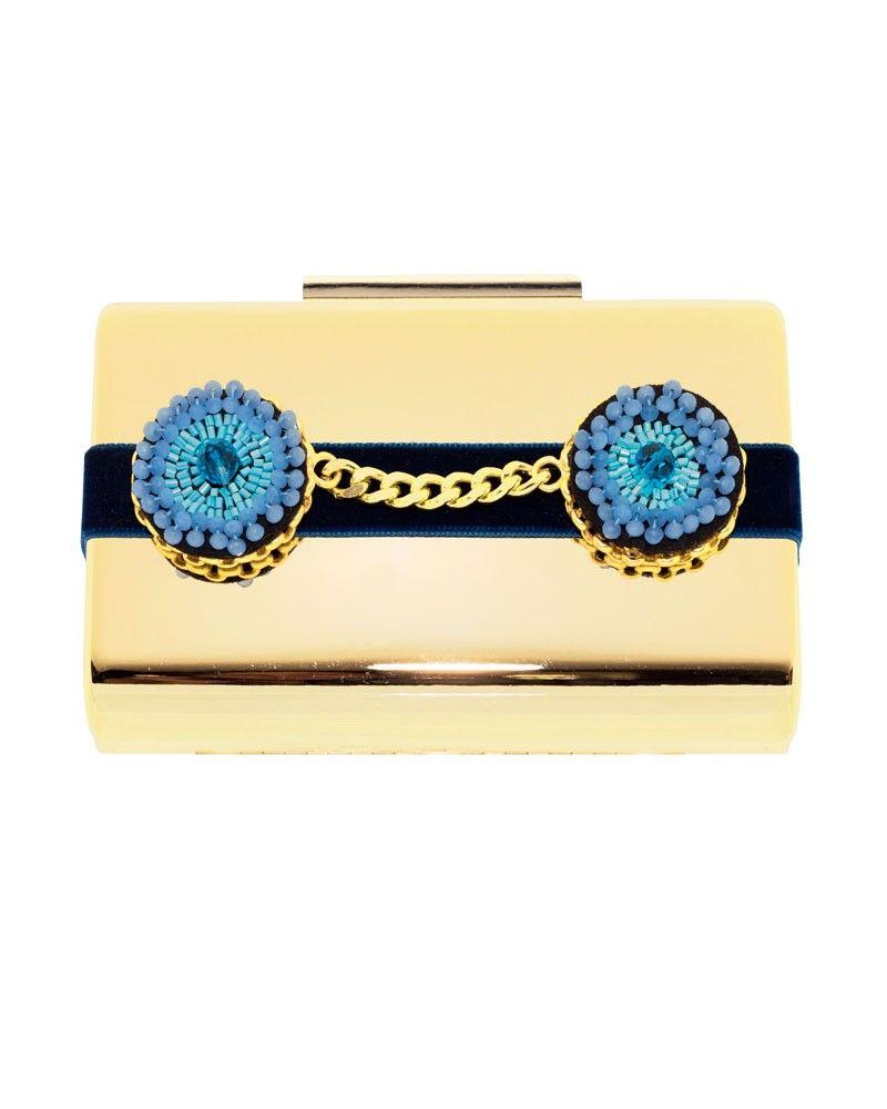 605eae22b Bolso con detalles en distintos tonos de azul y dorados. ¡Un bolso  versátil, original y muy singular, ideal para acudir a una fiesta, cóctel,  ...