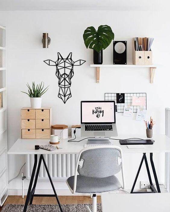 Photo of Metal wall art geometric animal giraffe head home decor sign wall flat steel polygonal …