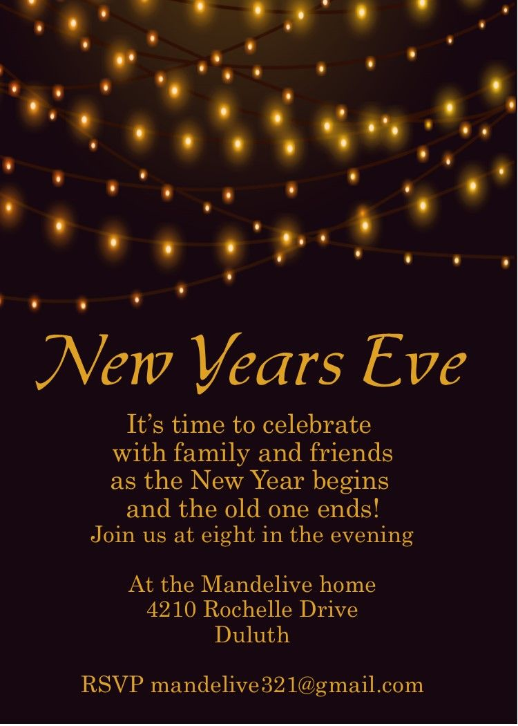 Golden Lights new years eve party invitations New years
