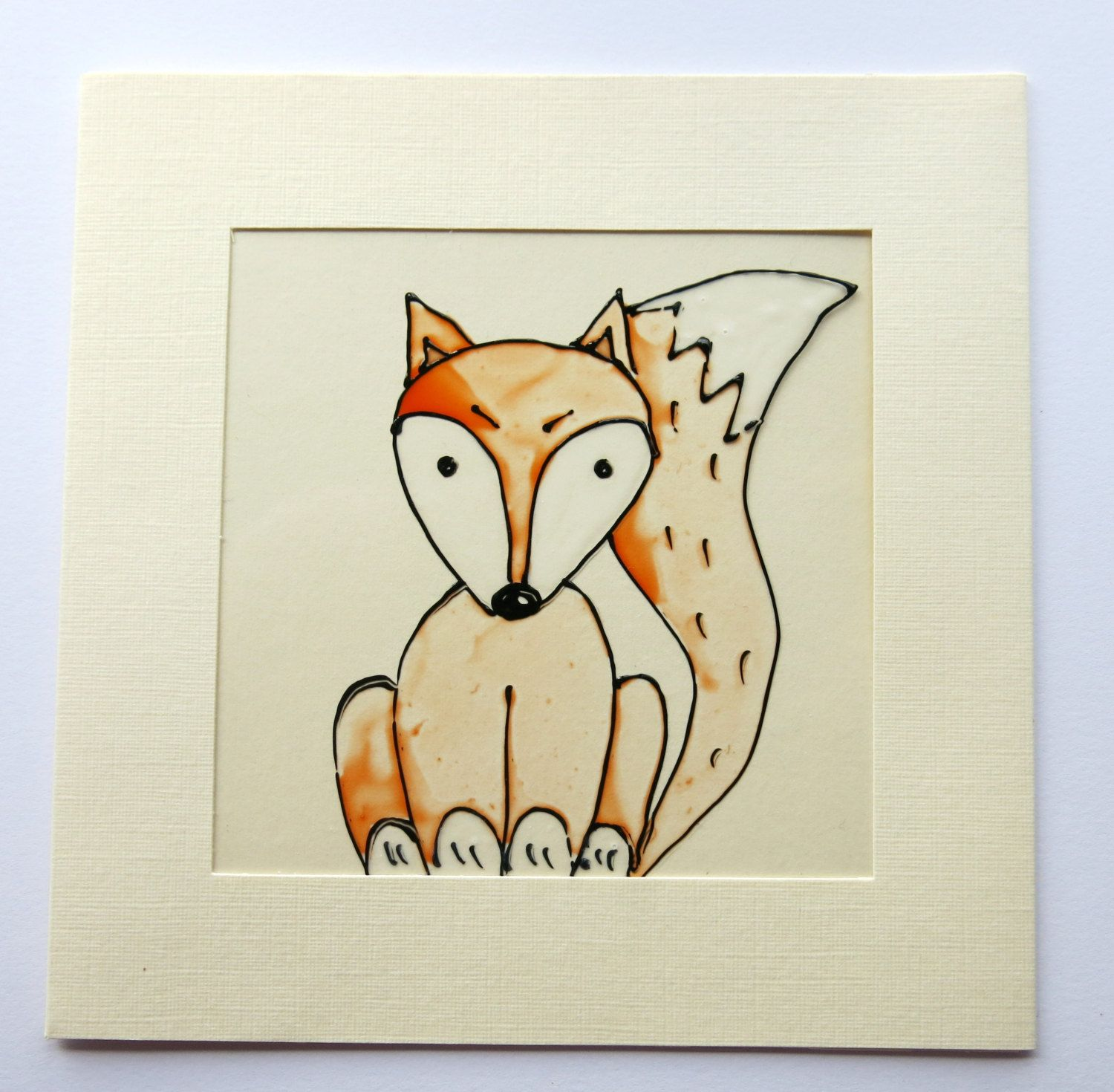 Fox card greeting card woodland animal birthday card hand greeting card handmade birthday card hand painted blank card glass painted kristyandbryce Images