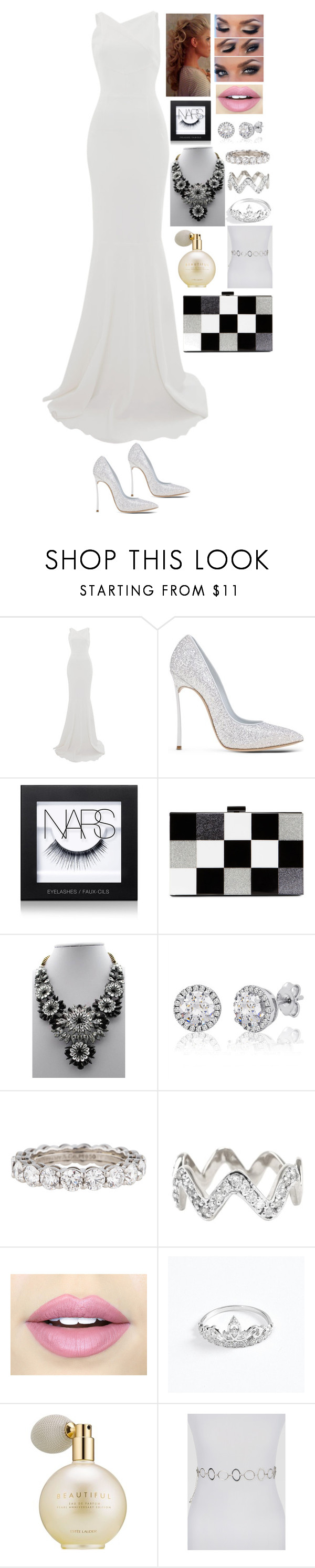 """White gown outfit"" by ynessica ❤ liked on Polyvore featuring Roland Mouret, Casadei, NARS Cosmetics, ALDO, Tiffany & Co., ADORNIA, Fiebiger, Estée Lauder and Ashley Stewart"