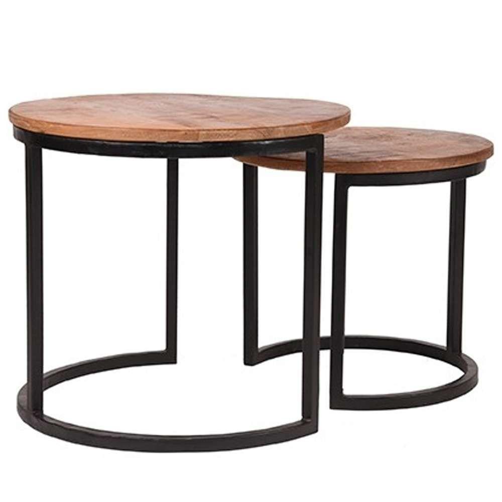 2er Set Couchtisch Duo Anstelltisch Beistelltisch Sofatisch Mango Metall Schwarz Sofa Tisch Tisch Beistelltisch