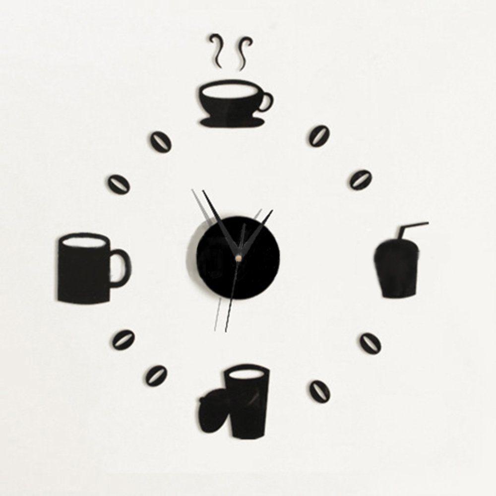 Kitchen Wall Clocks Modern Blytieor Black Coffee Cups Diy Acrylic 3d Kitchen Wall Art Mirror