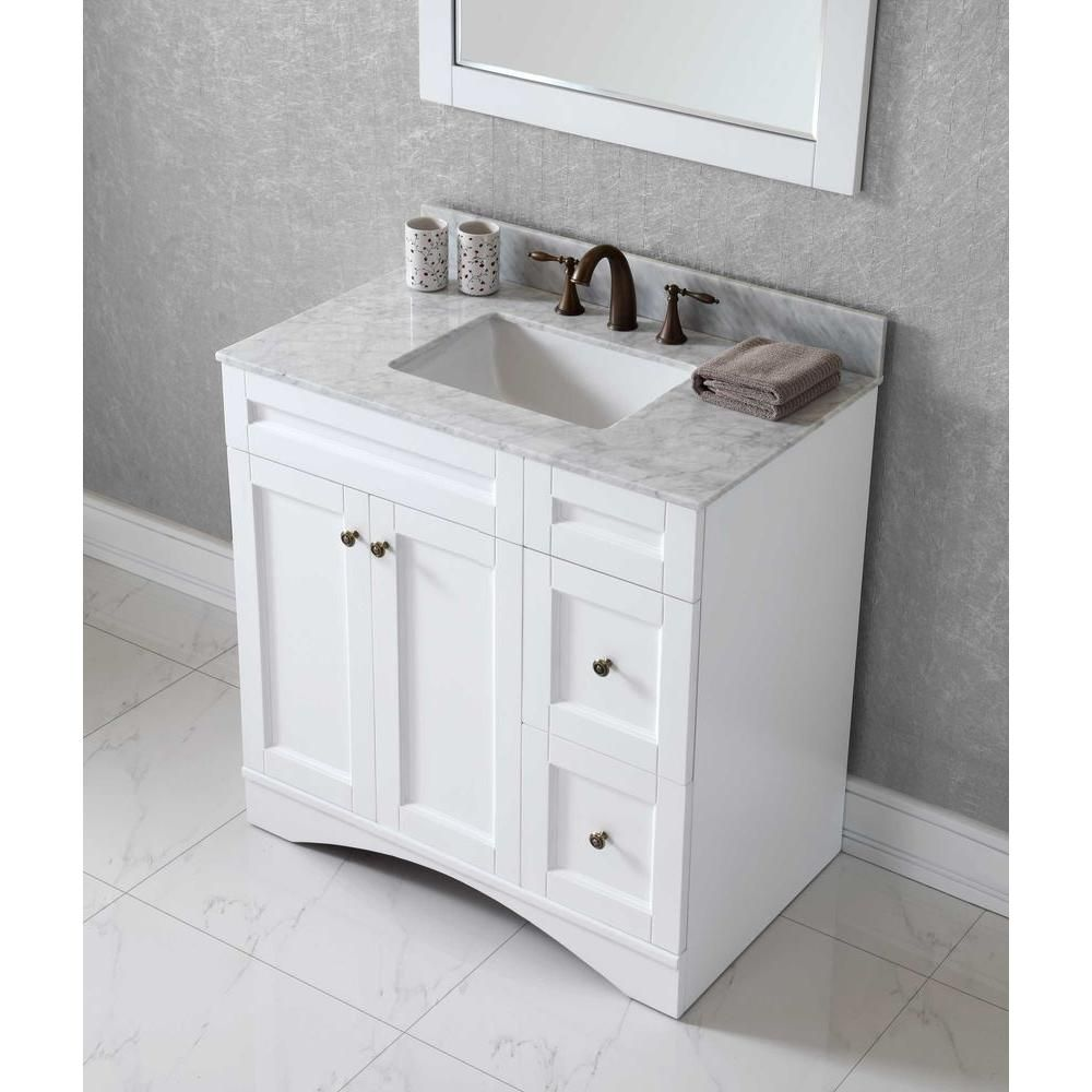 Virtu USA Elise 36 In. Vanity In Antique White With Marble Vanity Top In  Italian Carrara White And Mirror