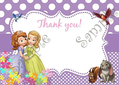 Sofia the first and amber invitation free thank you card party sofia the first and amber invitation free thank you card bookmarktalkfo Gallery