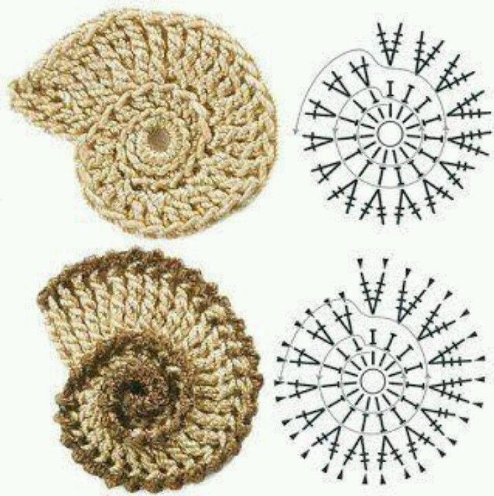 Shells | Apliques crochet | Pinterest | Ganchillo y Amar